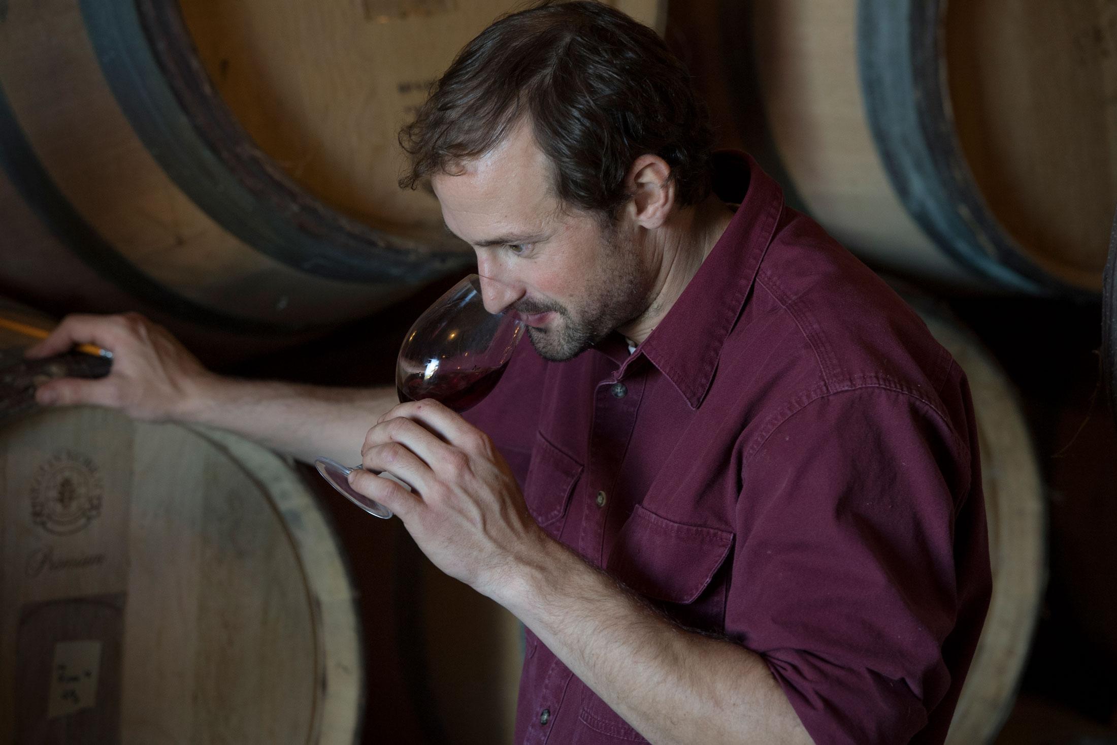 Tom Gerrie checking wines at Cristom Vineyards