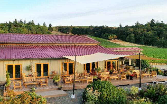 Cristom Vineyards tasting room deck