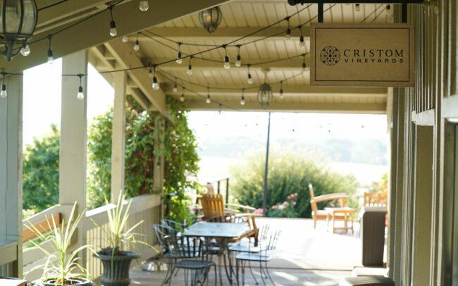 Cristom Vineyards tasting room porch
