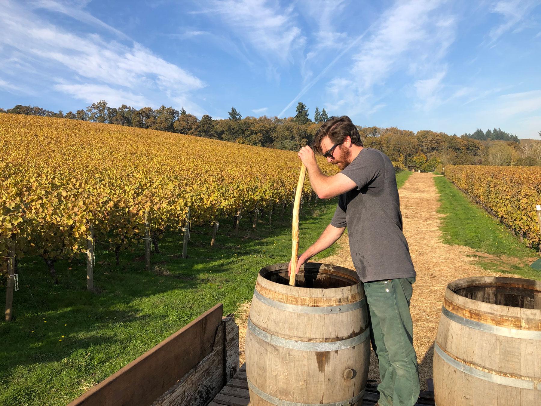 Mixing preparation in a barrel at Cristom Vineyards