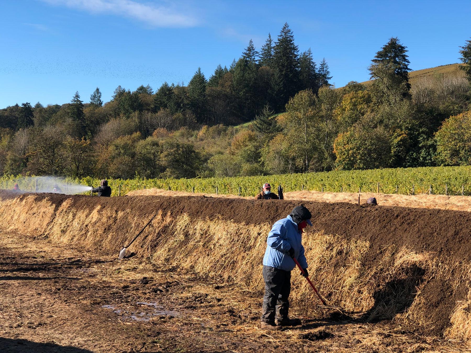 Biodynamic preparation work at Cristom Vineyards